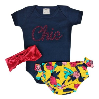 Conjunto Bebê Body Chic + Calcinha Floral + Turbante