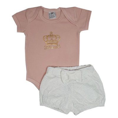 Conjunto Bebê Body Princess + Shorts Lesie