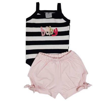 Conjunto Bebê Body Listrado Baby + Shorts Rosa