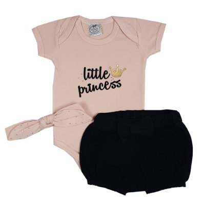 Conjunto Bebê Body Little Princess + Shorts Preto + Faixa