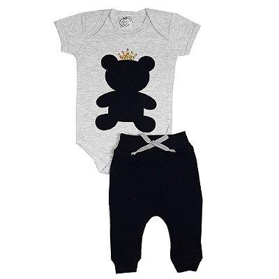 Conjunto Bebê Body Urso Preto + Calça Ribana