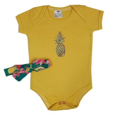 Body Bebê Abacaxi + Faixa
