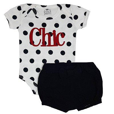 Conjunto Bebê Body Bola Chic + Shorts Preto