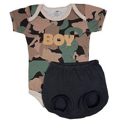 Conjunto Bebê Body Boy Camuflado + Shorts Bola Chumbo