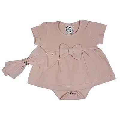 Vestido Bebê Com Body E Faixa Rosa