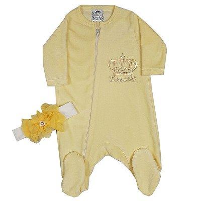Macacão Bebê Princess de Plush Com Faixa