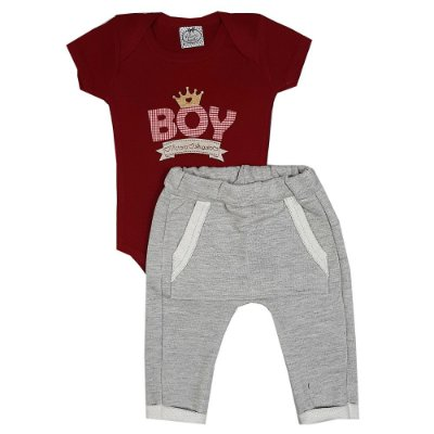 Conjunto Bebê Body Boy Vermelho + Calça Saruel Cinza