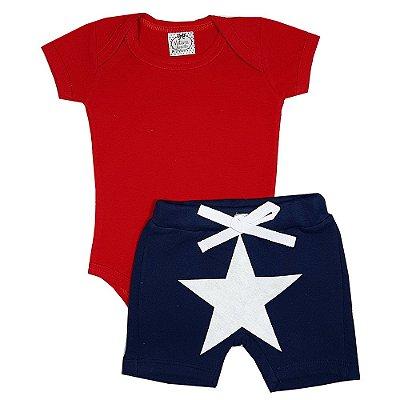 Conjunto Bebê Body Vermelho + Bermuda Saruel Estrela