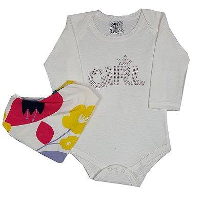 Body Bebê Girl + Bandana Flores