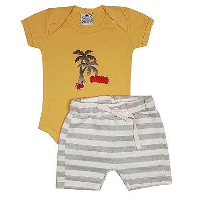 Conjunto Bebê Body Amarelo Aloha + Bermuda Saruel