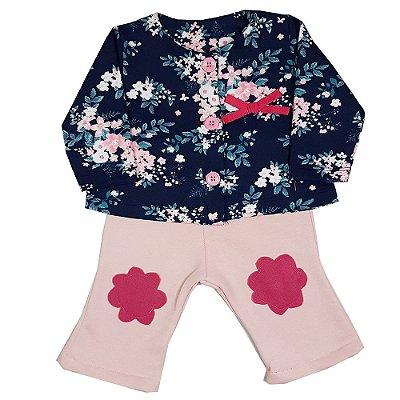 Conjunto Bebê Casaco Floral + Calça Flare