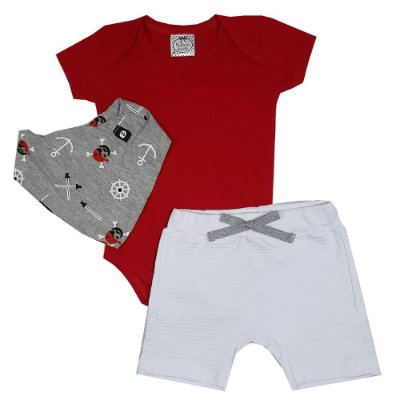 Conjunto Bebê Body Vermelho + Shorts Branco + Bandana Pirata