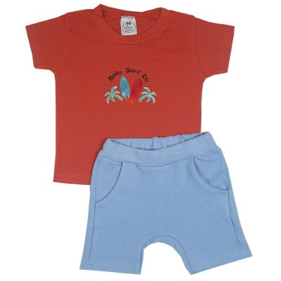 Conjunto Infantil  Camiseta Baby Surf Com Bermuda Azul