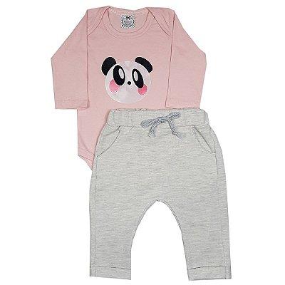 Conjunto Bebê Body Panda Rosa + Calça Saruel