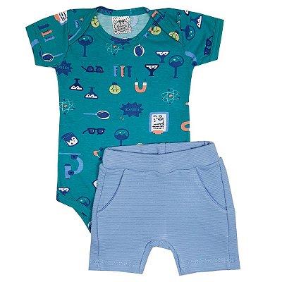 Conjunto Bebê Body Eureka + Shorts Azul