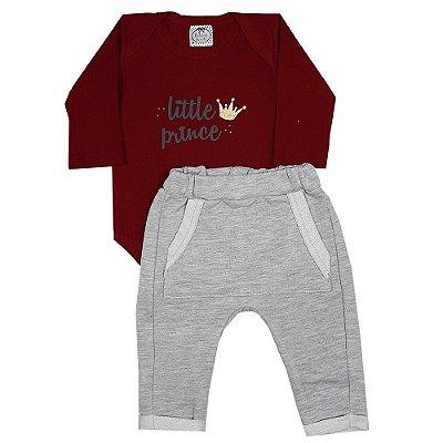 Conjunto Bebê Body Vermelho Little Prince + Calça Saruel