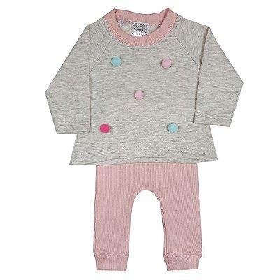 Conjunto Bebê Casaco Bolinha + Calça Rosa