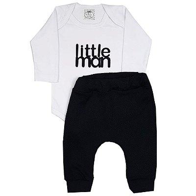 Conjunto Bebê Body Little Man Branco + Calça Saruel Preta De Soft