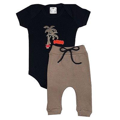 Conjunto Bebê Body Aloha + Calça Ribana Marrom