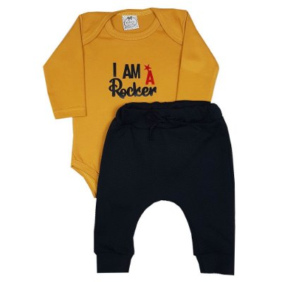 Conjunto Bebê I Am Rocker Amarelo