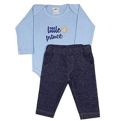 Conjunto Bebê Body Little Prince Azul + Calça Jeans