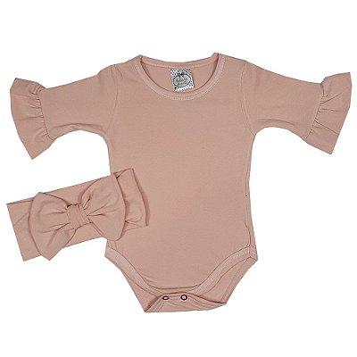 Body Bebê Rosa + Turbante