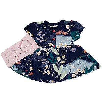 Vestido Bebê Flores Com Turbante