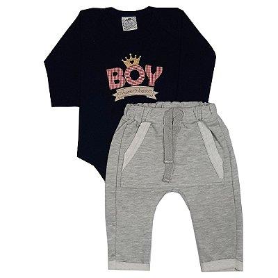 Conjunto Bebê Boy Azul Marinho + Calça Saruel Cinza
