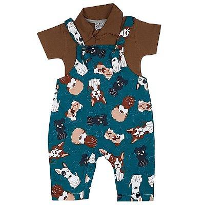Jardineira Bebê Cachorros + Body Polo
