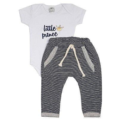 Conjunto Bebê Body Little Prince + Calça Saruel Listrada