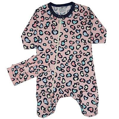 Macacão Bebê Mini Corações Com Turbante