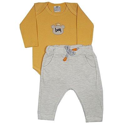 Conjunto Bebê Body Boy Amarelo + Calça Saruel