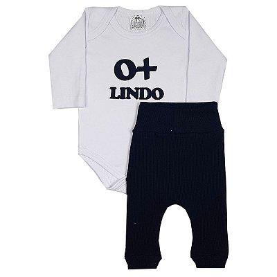 Conjunto Bebê Body O+ Lindo + Calça Azul Marinho