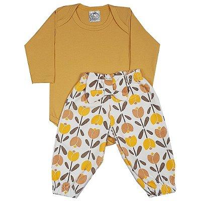 Conjunto Bebê Body Amarelo + Calça Veludo Flores