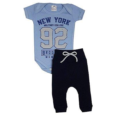 Conjunto Bebê Body New York + Calça Ribana Azul Marinho