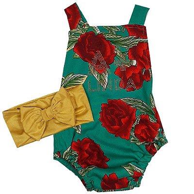 Jardineira Bebê Modelo Jumper Rosas Com Turbante