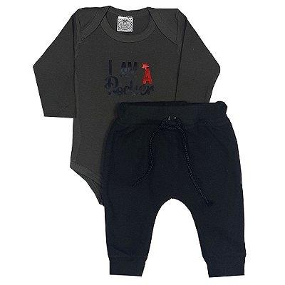 Conjunto Bebê I Am Rocker Verde Escuro + Calça Soft Preta