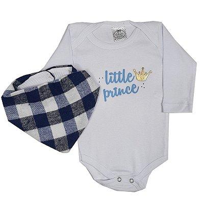 Body Bebê Little Prince + Bandana Xadrez Azul