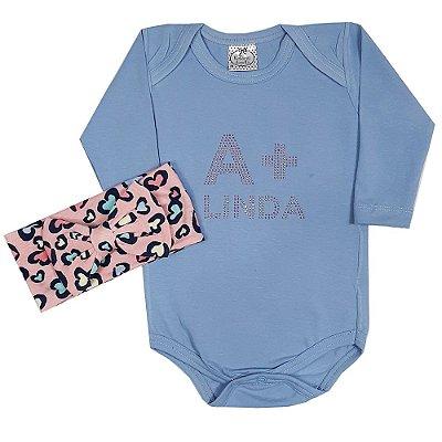 Body Bebê Azul A + Linda Com Faixa