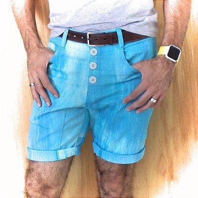 Bermuda masculina skinny de sarja colorida. Rosa, verde, azul.