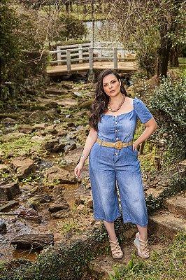Macacão jeans pantacurt plus size