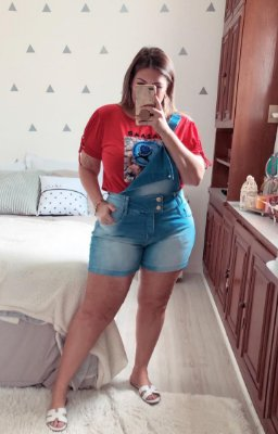 Jardineira e short plus size