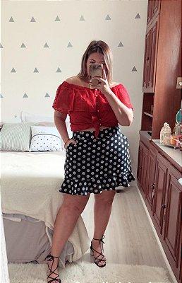 Short saia em poá plus size