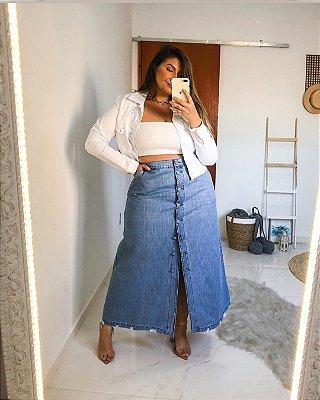 Saia jeans longa plus size