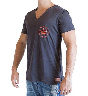 Camiseta Gola V - Cinza