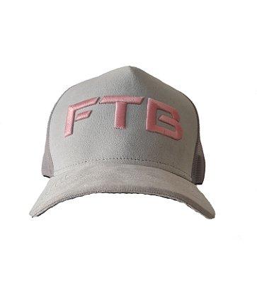 Boné Trucker FTB - Cinza com rosa