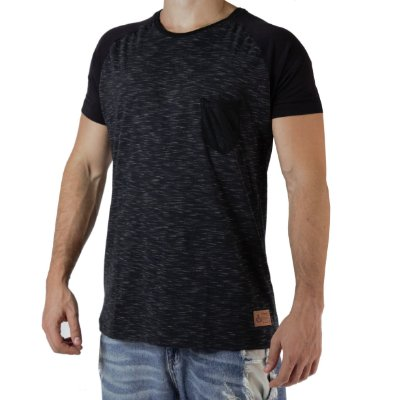 Camiseta Casual - Raglan Double - Preta