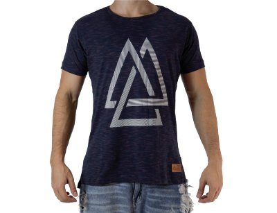 Camiseta Casual - Triangles - Azul