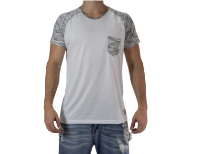 Camiseta Casual - Raglan Double - Branca