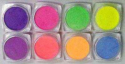 Kit com 8 Pó acrilico para arte fluorescente